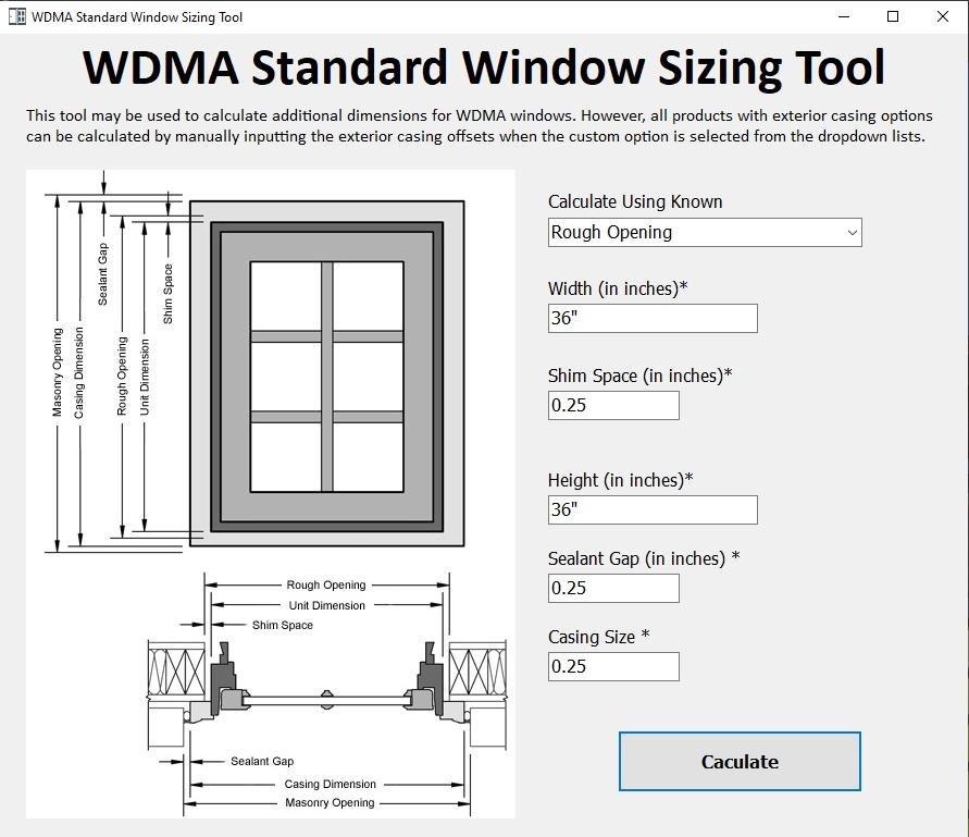 WDMA Standard Window Sizing Tool